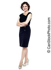 vestido preto, senhora, jovem, caucasiano