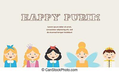 vestido, purim, imaginación, feliz, judío, niños, gozar