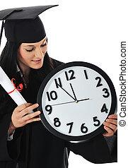 vestido, relógio, diploma, graduado, estudante, menina