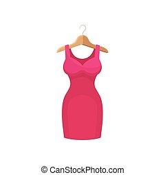 vestido rosa, en, ropa, hanger., moda, concept.