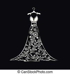 vestido, silueta, casório