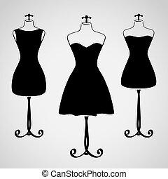 vestido, silueta, femininas, clássicas