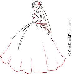 vestido, simbólico, casório, noiva, bonito