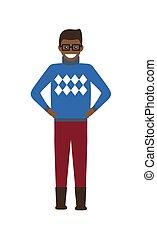 vestido, suéter, ilustração, vetorial, cartaz, homem