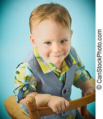 vestido, toddler, poço, menino