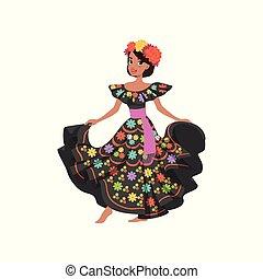 vestido, vector, negro, nacional, fondo blanco, tradicional, ilustración, hermoso, mexicano, mujer, joven