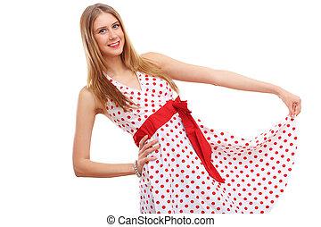 vestido vermelho, mulher