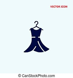 vestido, vetorial, cabide, ícone