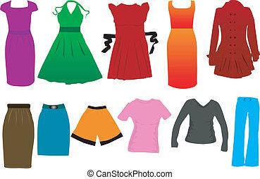 vestido, vetorial, moda, mulheres