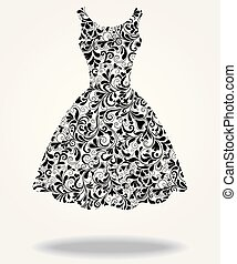 vestido, vetorial, silueta, isolado, costas