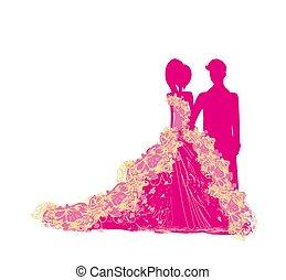 vestidos, elegante, par, isolado, caráteres