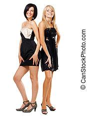 vestidos, negro, dos, bastante, mujeres