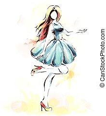 vestire, acquarello, ragazza, pittura, sera, elegante