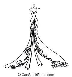 vestire, bianco, nero, disegno, matrimonio
