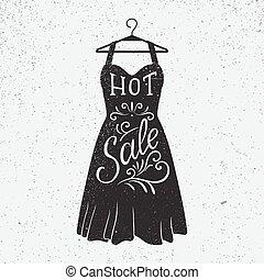 vestire, caldo, illustrazione, vendita, forma, disegnato, mano, lettering.