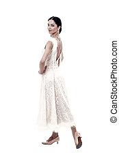vestire, donna, sala ballo, bellezza, intrattenimento, look., concept., isolato, ballo, ballerino, sorriso, bianco, style., esecuzione, sorridente, moda, o, felice