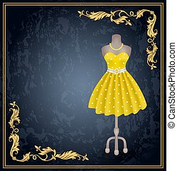 vestire, dummy., stile, punti polca, retro, moda