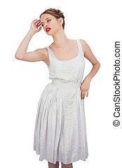 vestire, modello, bianco, proposta, attraente