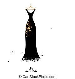 vestire, sera, nero, grucce