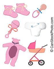 vestiti bambino, e, giocattoli