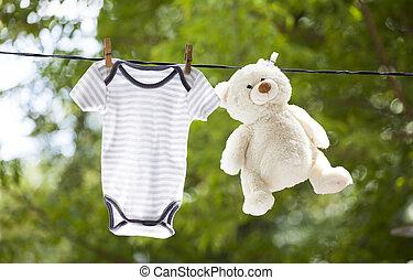 vestiti bambino, orso, appendere, teddy, clothesline