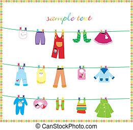 vestiti bambino, su, corda del bucato