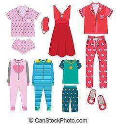 vestiti, colorato, bedtime, bambini, genitori, pajamas., ...