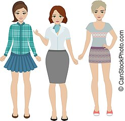 vestiti, differente, set, donne