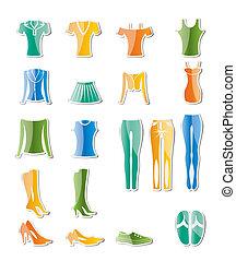 vestiti, donna, femmina, icone