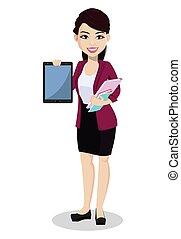 vestiti, donna, ufficio, affari, asiatico