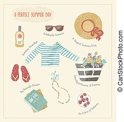 vestiti, estate, set, accesories