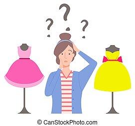 vestiti, femmina, confuso, vettore, shopping donna