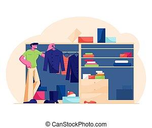 vestiti, indossare, uomo, abbigliamento, bello, illustrazione, scegliere, organizzare, appartamento, giovane, appendere, morning., famiglia, vettore, guardaroba, casa, dall'aspetto, decidere, cosa, lavoro, sistema, camicia, stare in piedi, cartone animato