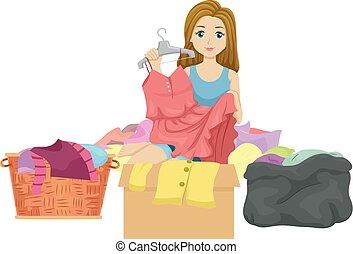 vestiti, ragazza adolescente, illustrazione, declutter