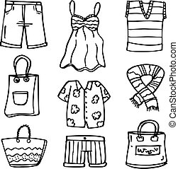 vestiti, scarabocchiare, set, moda, donne