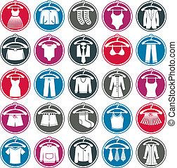 vestiti, set, icona