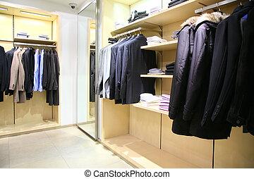 vestiti, su, cremagliere, in, negozio
