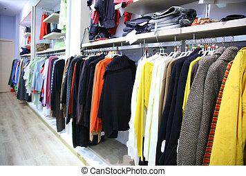 vestiti, su, scaffale, in, negozio
