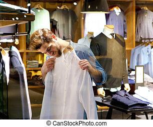 vestiti, uomo, shopping, giovane, bello