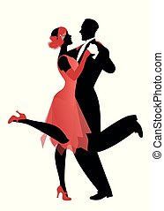 vestiti, vettore, elegante, ballo, stile, charleston., ...