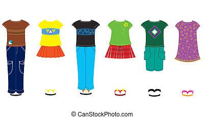 vestiti, vettore, moda, bambola