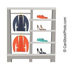 vestiti, vettore, scarpe, illustrazione, mensole