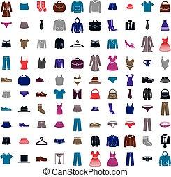vestiti, vettore, set, icona