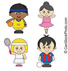 vestito, atleti, bambini