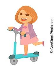 vestito colore rosa, scooter, allegro, rosso, ragazza, cavalcate, calcio
