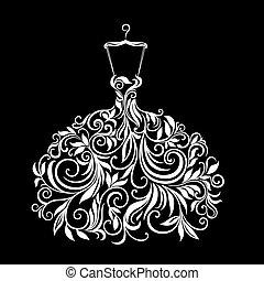 vestito floreale, bianco, ornamento