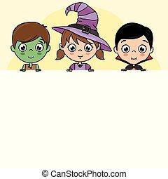 vestito, halloween, bambini, manifesto