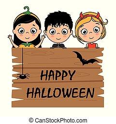 vestito, halloween, bambini