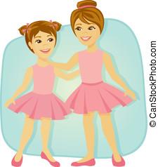 vestito, piccole ragazze, balletto