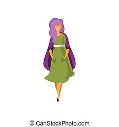 vestito portare, donna, moda, moderno, giovane, illustrazione, elegante, vettore, sfondo verde, elegante, ragazza, abbigliamento, bianco